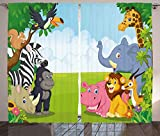 Ambesonne Animal Curtains, Kids Design Children Nursery Room Safari Themed Cartoon Animals Image Artwork Print, Living Room Bedroom Window Drapes 2 Panel Set, 108' X 84', Lilac Pink