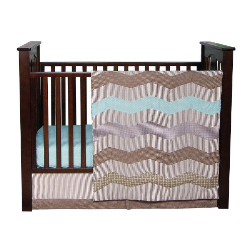 Trend Lab Cocoa Mint 3 Piece Crib Bedding Set, Taupe (110200)