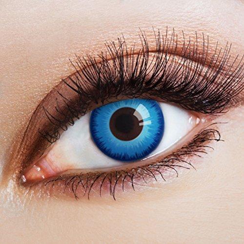 aricona Kontaktlinsen - Stahlblaue Kontaktlinsen Farblinsen ohne Stärke - Farbige Kontaktlinsen für Karneval, Fasching, Cosplay, 2 Stück