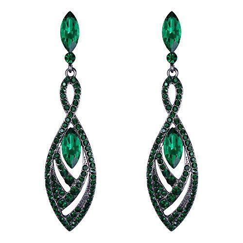 Pendientes de Mujer - Clearine Aretes en Forma de Diamante Lágrimas, Estilo Elegante Precioso Cristales para Boda Novia Fiesta
