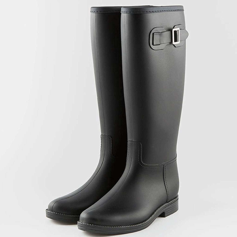Duanguoyan Regenstiefel- Leichte Leichte Leichte einfache weibliche Erwachsene Regenstiefel hohe Röhre Rutschfeste Schuhe Wasserdichte Gummischuhe (Farbe   Dark, größe   37)  6242f2