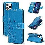 Archi - Custodia con aletta per iPhone 12, motivo: farfalle blu...