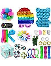Paquete de 28 piezas de juguetes Fidget, juguetes sensoriales Fidget baratos, Fidget Toy Set Fidget Packs Fidget Box, Fidget Pack con Stress Ball Marble Mesh, regalos para niños, adultos con autismo