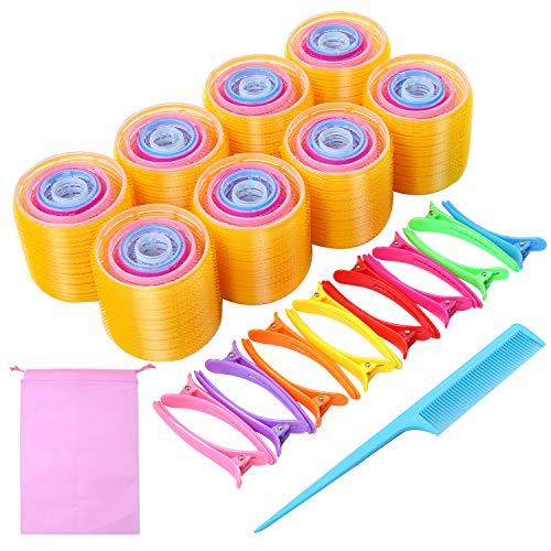 URATOT Self Grip Hair Rollers Set 40 Rollers, 15 Duck Bill Clips, 1 Combs, 1 Storage Bag, Hairdo Tools for Adults and Kids, 64mm, 48mm, 36mm, 30mm, 20mm (Yellow, Pink, Dark pink, Blue, Light blue)