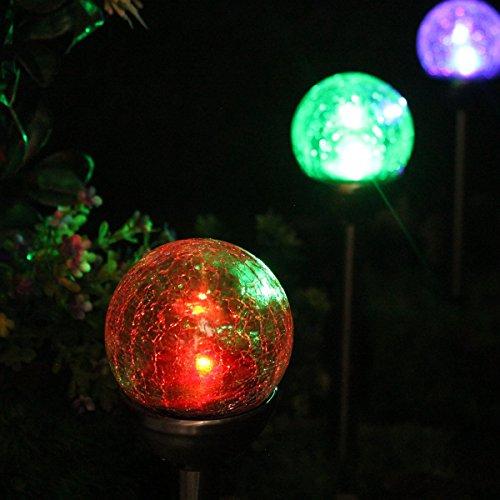 4 Pack Luz Solar Exterior Jardin Decoracion, LED de Cambia Color Diseño de Bola de Vidrio de Crackle para Jardín, Patio, Terraza, Navidad de NORDSD
