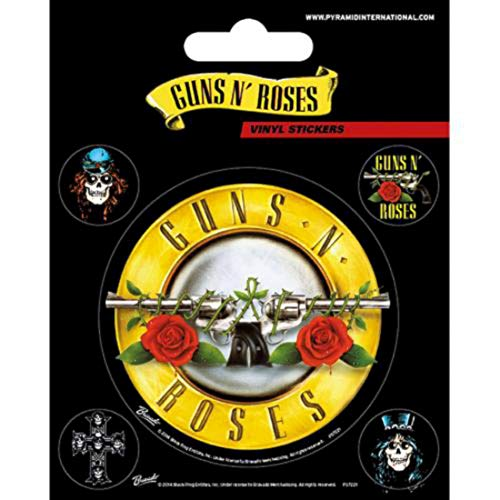 Pyramid International Guns N' Roses (logo proiettile) adesivi in vinile, carta, multicolore, 10 x 12,5 x 1,3 cm