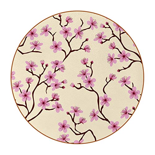 Microfiber leather Coasters with Round Edge 4.3 inches 6pc Heat-Resistant Reusable Saucers for Drinks Wine Glasses Plants Cups & Mugs,Pattern Pink Peach Blossoms