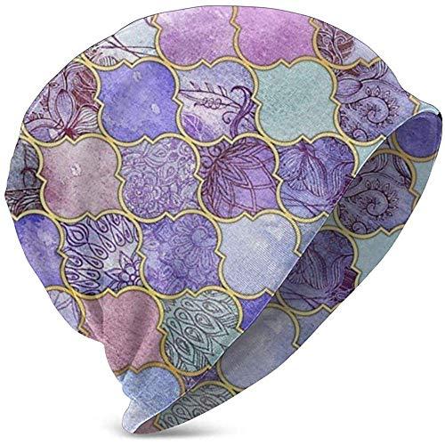 GodYo Royal Purple Mauve Indigo Marokkaanse tegel Comfortbale Soft Slouchy collectie gebreide mutsen Skull Cap Winter Ski Baggy Hat