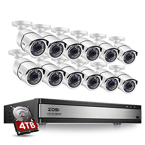 ZOSI H.265+ 1080p 16 Channel Security Camera System,16 Channel DVR with Hard Drive 4TB and 12 x 1080p(2MP) CCTV Bullet Camera Outdoor/Indoor with 120ft Long Night Vision and 105°Wide Angle