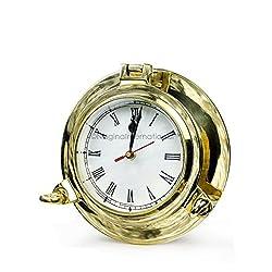 Nagina International Nautical Boat's Porthole Time's Clock | Maritime Brass Ship's Decor (Antique Brass, 6 Inches)