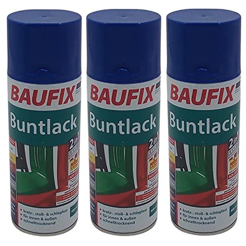 Baufix 3X Alkydharz Lackspray Marineblau glänzend 400ml Bunt Farbspray Sprühdose