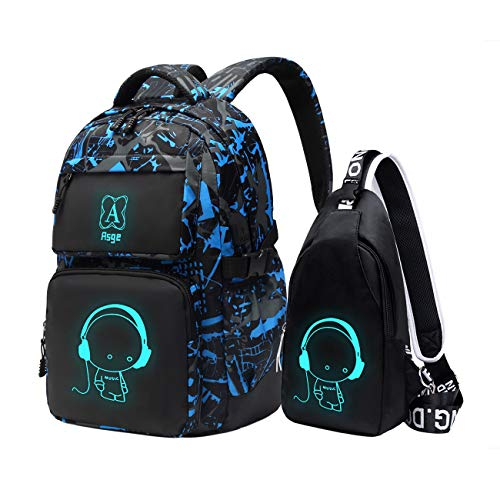 Asge Sac a Dos Scolaire Grand Sac Ecole Garcon Trousse Lycee