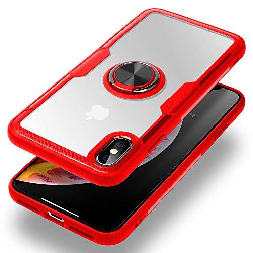 Caler magnétique Support de Voiture Coque pour iPhone XS avec Bague Béquille Fonction,Transparente PC de Protection avec Carbone Pare-Chocs Silicone Protection de Coussin d'air(Rouge)