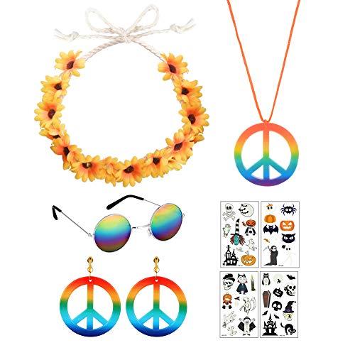 Hippie Accesorios, Pendientes de Collar de Signo de la paz Diadema de Pelo de Margarita Gafas Hippie Coloridas para Fiesta Carnaval de Halloween Cosplay 4 Piezas, con Pegatinas de Tatuaje 4 Piezas