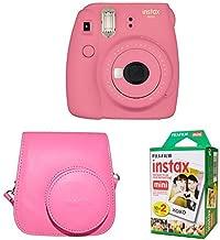 Fujifilm Instax Mini 9 Instant Camera with Instax Groovy Camera Case (Flamingo Pink) & Instax Mini Instant Film Twin Pack