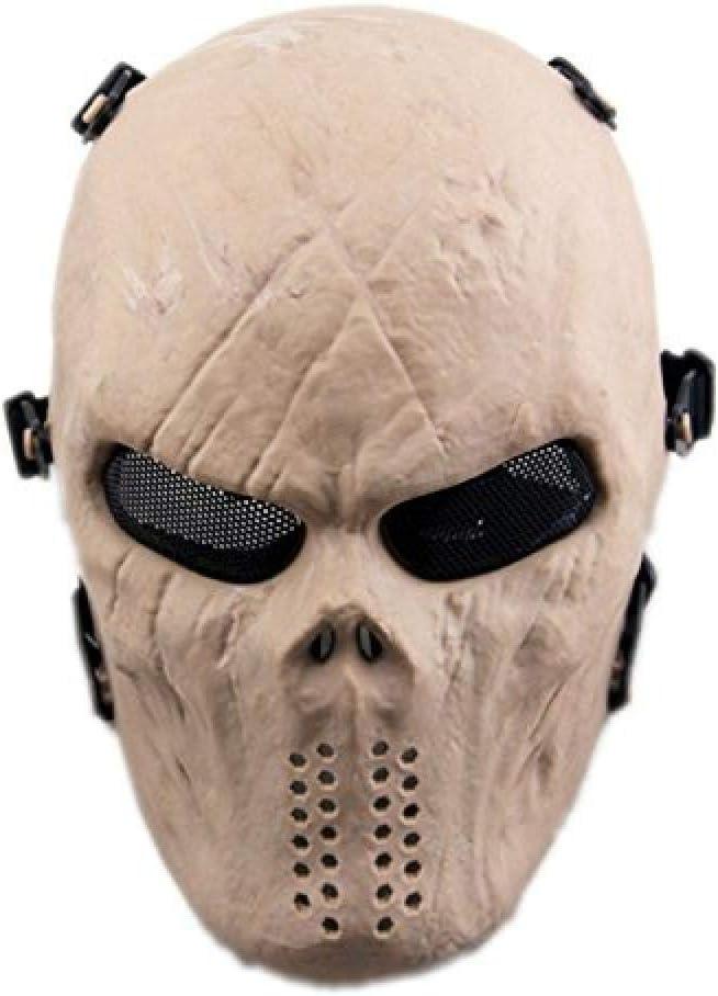 MáScara Facial TáCtica De Calavera Con ProteccióN Ocular De Malla MetáLica Para Airsoft/Bb Gun/Cs Game And Party-Dz zeenca