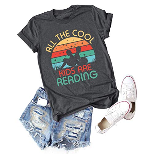All The Cool Kids are Reading Graphic Shirt Women Book Lovers Short Sleeve Tee Tops (#3 Dark Gray, M)