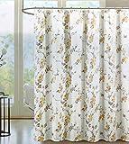 Indigo Loft Duschvorhang aus Stoff mit klassischem Blumenmuster in Schattierungen von Lavendel Gelb Orange auf Creme / Ecru