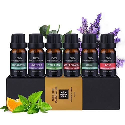 Ätherische Öle Set 6x10ml ACTOPP Aromatheraphie Duftöle für Diffuser Duftlampen Lufterfrischer Rose Eukalyptus Pfefferminze Lavendel Orange Zitrone Duftöl Set Aromaöl Geschenkset Weihnachten Geschenk