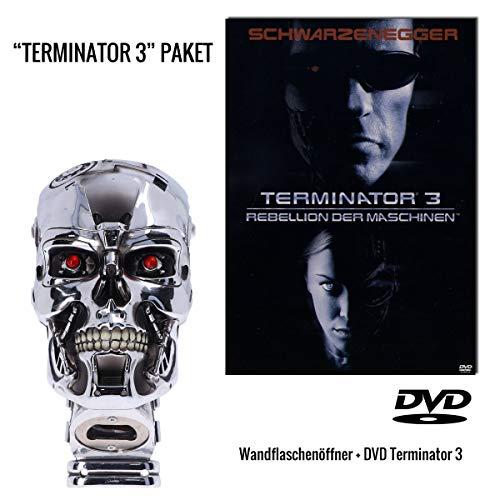 Terminator 3 - Rebellion der Maschinen DVD (Steelbook) + Terminator T-800 Kopf Wandflaschenöffner