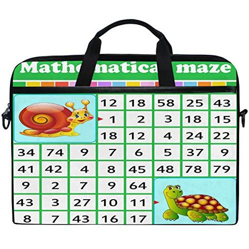 Kaariok Educational Mathematical Maze Game Number Labyrinth Laptop Shoulder Bag 13-14.5 Inch Sleeve Case Messenger Tablet Carring Briefcase with Handle Strap for Men Women Boys Girls