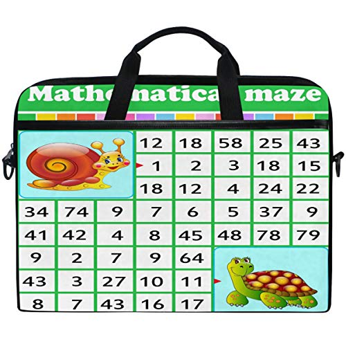 Kaariok Educational Mathematical Maze Game Number Labyrinth Laptop Shoulder Bag 13-14.5 Inch Sleeve Case Messenger Tablet Carring Briefcase with Handle Strap for Men Women Boys Girls