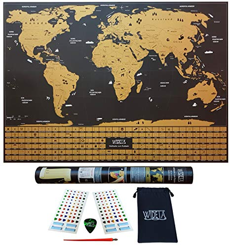 WIDETA Weltkarte zum Rubbeln in deutsch mit Länderflaggen in Gold und schwarz mit Zubehör (XL (60 x 42 cm))