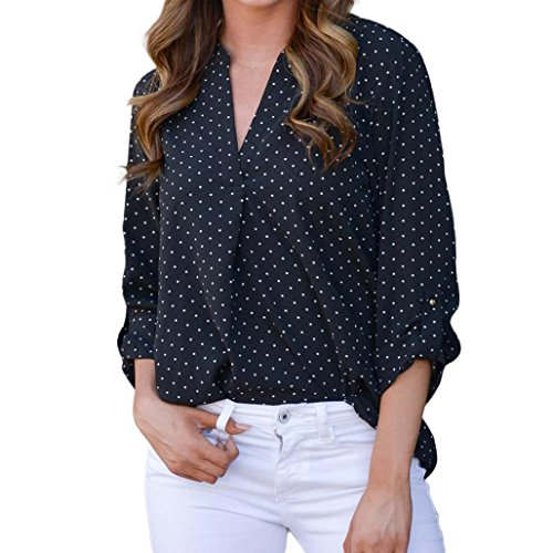 Longra T-shirt, gestippeld, V-hals, lange mouwen, T-shirt, dames, vintage, bohème, tank-tops, chique, blouse, modieus