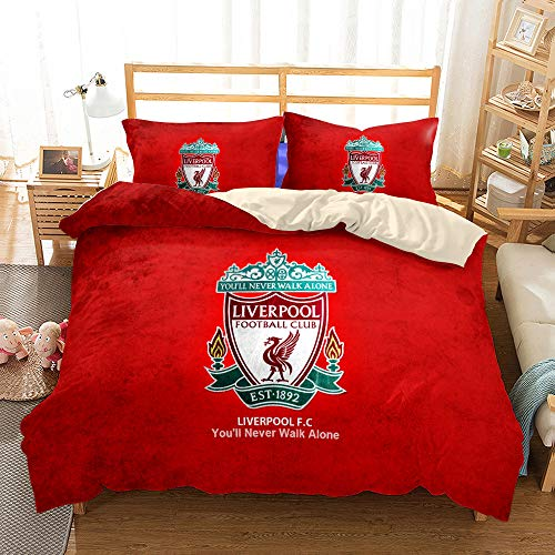 JinWensm Duvet Cover double bed 200x200 cm, Liverpool F.C Bedding Sets 3 PCS with Zipper Closure, 1 Quilt Cover With 2 Pillowcases 50x75 cm Football team