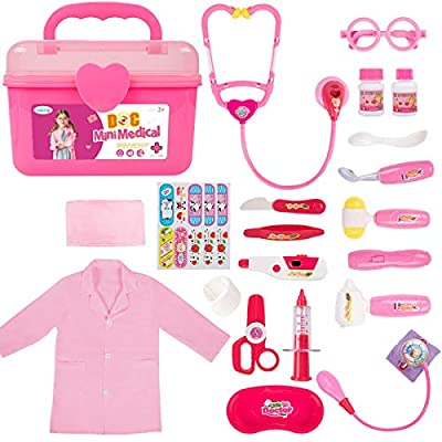 Durable Doctor Kit for Kids, 23 Pieces Pretend Play Educational Doctor Toys, Dentist Medical Kit with Stethoscope Doctor Role Play Costume, Doctor Set Toys for Toddler Girls 3 4 5 6 7 8 Years Old from Liberry