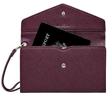 Krosslon Rfid Passport Holder Wristlet Travel Wallet Trifold Documents Organizer Slim Purse Fit US UK CA Passport Cover Best Traveling Accessories for Women Burgundy 218#