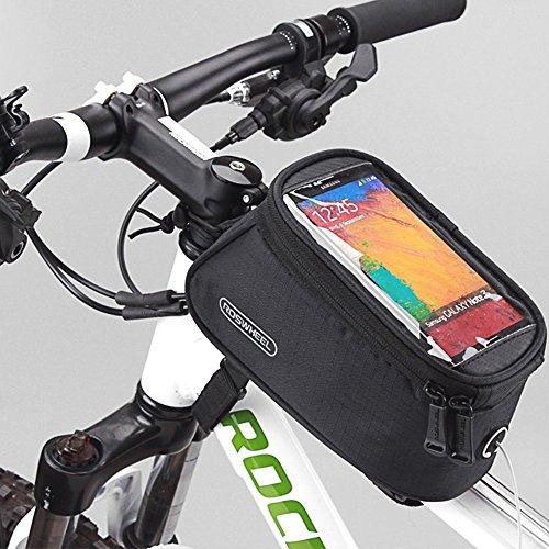 Roswheel Fietszadeltas, opbergtas, voorvak, mobiele telefoon buis met helder PVC-display, audio-verlenging, 5,5 inch telefoon, 1,7 l, zwart 1,7 l