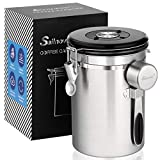Airtight Coffee Canisters - Sailnovo Stainless Steel Container for Beans Grounds Sugar Flour Fresher Storage with Date Tracker, CO2-Release Valve and Measuring Scoop Kitchen Use - Silver