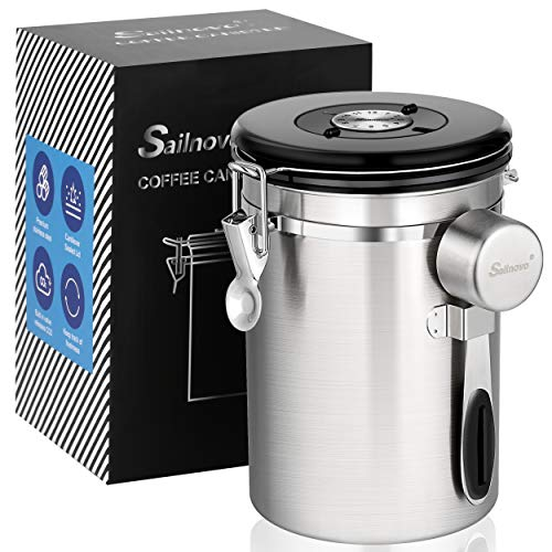 Airtight Coffee Canisters - Sailnovo Stainless Steel Container for Beans Grounds Sugar Flour Fresher Storage with Date Tracker, CO2-Release Valve and Measuring Scoop Kitchen Use - Sliver