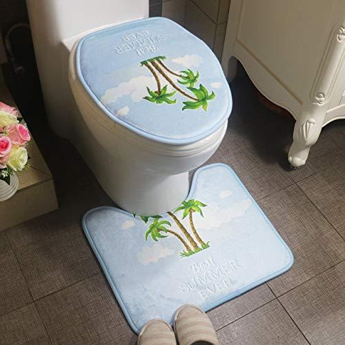 Mdsfe ZDNko Hondenmattenset 2-delig H tapijtset eenvoudige en schattige badmatten set wc-mat badmat badmat U-vorm antislipmat voor hotel - drie bomen