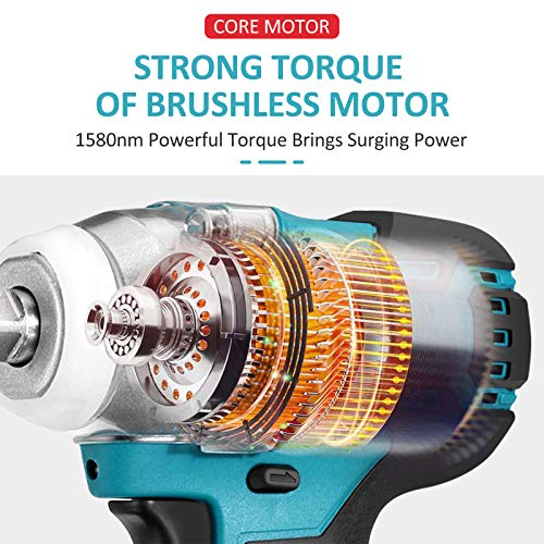 2021 Newest Brushless Electric Impact Wrench 1/2 inch Cordless Brushless,18V 520N.m High Torque Impact Wrench Without Battery Rechargeable DTW285Z(Bare)