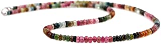 68 CT Multi Tourmaline Rondelle Faceted Beads Necklace (AAAA Quality)
