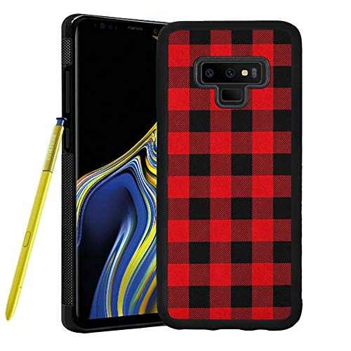 Phone Case TPU+PC for samsung Galaxy Note 9 case [6.4 Inch] Plaid,Lumberjack Fashion Buffalo Style Checks Pattern Retro Style with Grid Composition Scarlet Black.