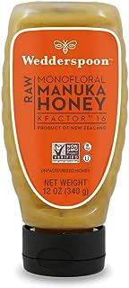 Wedderspoon Raw Manuka Honey KFactor 16, Unpasteurized, Genuine New Zealand Honey, Multi-Functional, Non-GMO Superfood, Co...
