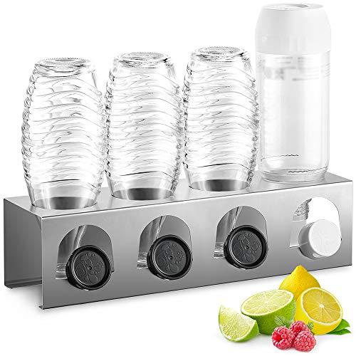 ecooe Abtropfhalter aus Edelstahl Abtropfständer für z.B. SodaStream und Emil Flaschen Platz Für 4 Flaschen und 4 Deckel Spülmaschinenfest
