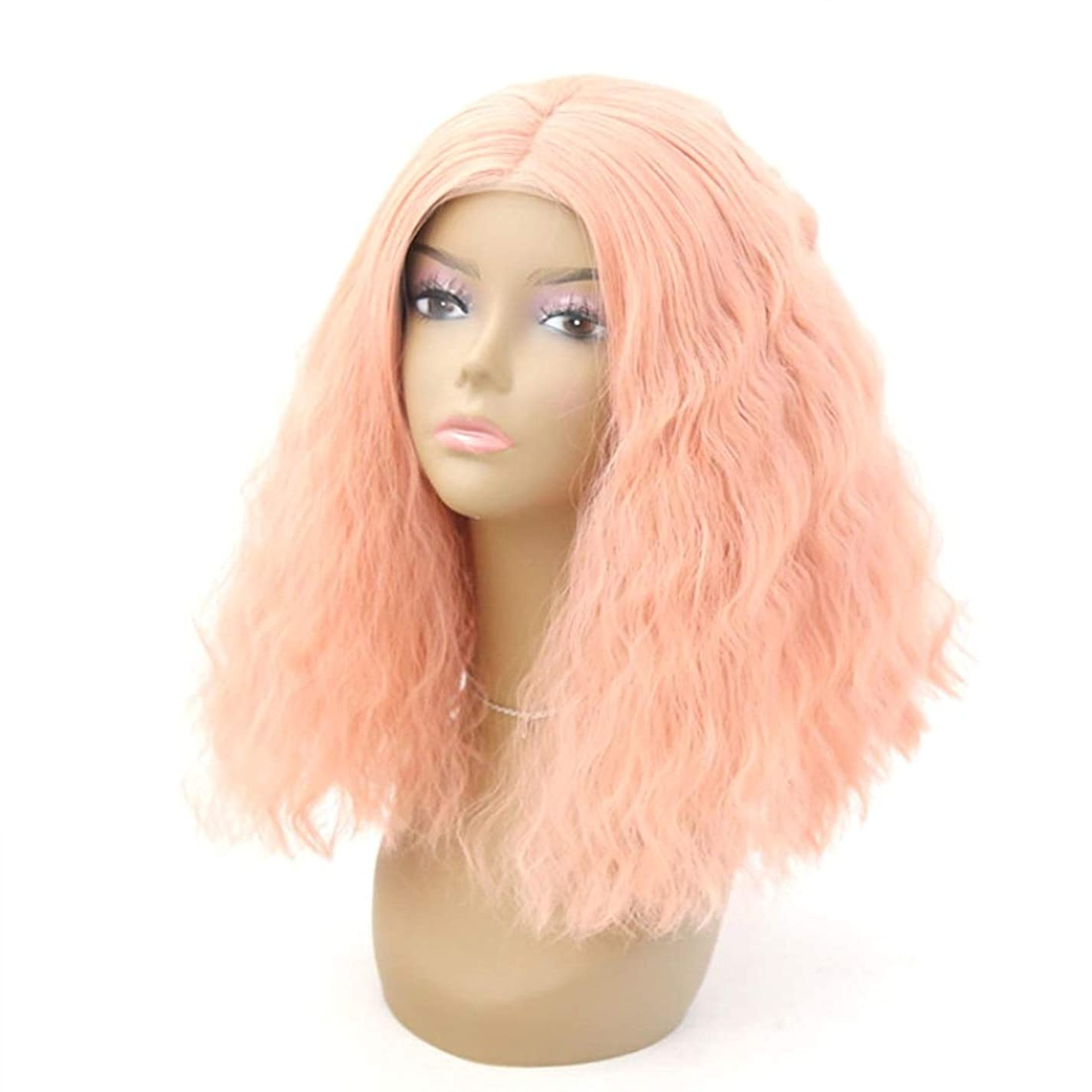 囲む冷蔵庫家Summerys 女性のためのフロントレースかつらふわふわリトルカーリーピンクショートヘア