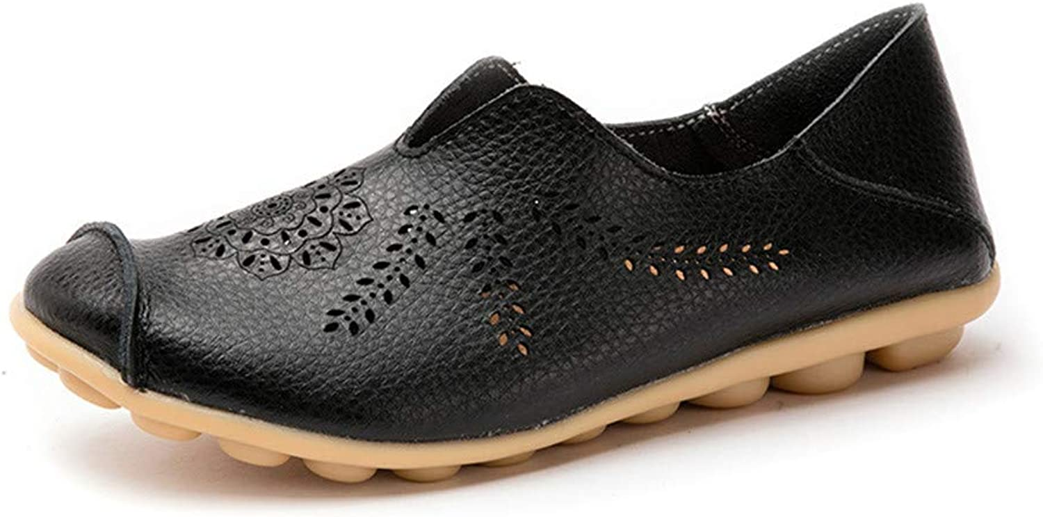 HULUN Leather Summer Leisure Cave Flat-Soled Mother's shoes