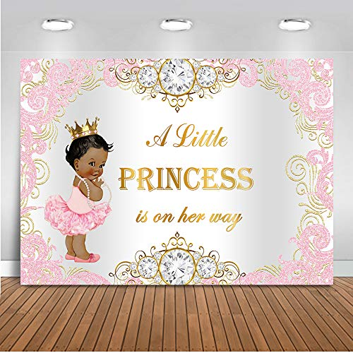 Mehofoto Royal Princess Baby Shower Backdrop Pink Silver Diamond Baby Shower Background 7x5ft Vinyl Girls Baby Shower Party Banner Decoration Supplies