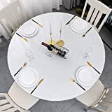 Clear Vinyl Round Fitted Tablecloth Plastic Elastic Fitted Table Cover for Protecting Tables and Table Linen (Round Tight Fits Table up 40