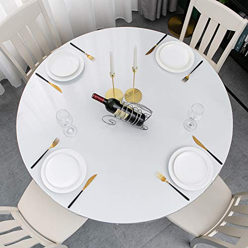 Clear Vinyl Round Fitted Tablecloth Plastic Elastic Fitted Table Cover for Protecting Tables and Table Linen (Round Tight Fits Table up 40'-44' Diameter)