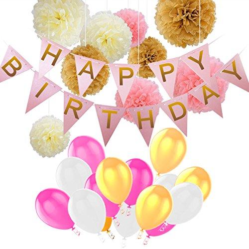 Deko Geburtstag,Kindergeburtstag Geburtstag Dekoration Set,Happy Birthday Dekoration 40 Stücks mit 9 Papier Pom Poms + 30 Große Geperlte Ballons +1 Happy Birthday Banner für Mädchen und Jungen,Alters