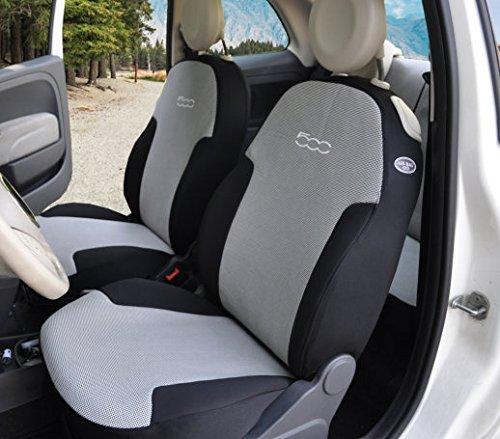 Auto-Sitzbezüge aus Stoff, passgenau, Bezug der Rückbank geteilt Nero puntino bianco + unito nero