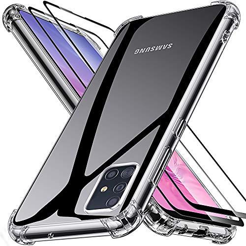 """Joyguard Samsung A51 Hülle[2 Panzerglas Schutzfolie], Samsung Galaxy A51 Handyhülle Silikon Transparent TPU Dünn Slim Kratzfest Bumper Case Stoßfest Samsung A51 Hülle Silikon-Klar(6.3\"""")"""