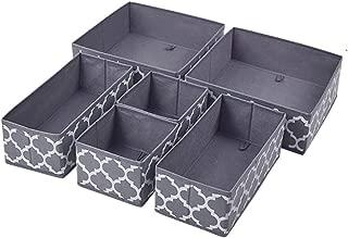 Homyfort Set of 6 Foldable Closet Dresser Organizer Drawer Divider , Underwear Baby Clothes Cube Storage Bins for Bras, Socks, Undergarments, Scarves (Grey Lantern Printing)