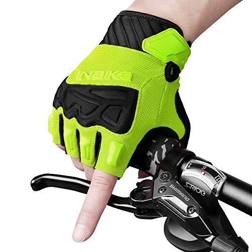 INBIKE Guanti MTB Estivi da Uomo Guanti Ciclismo Senza Dita in 5mm Imbottitura Traspirante Antiscivolo con Ottima Presa(Verde,M)